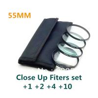 4 pcs 55mm 55 mm Close up Macro +1 +2 +4 +10 SLR Lens Filter Kit Set For Nikon Canon Camera free shipping+tracking