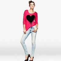 Free ship women's Heart-shaped pattern printed soft mercerized cotton Sleeve t shirt 100%cotton t-shirt lady t shirts
