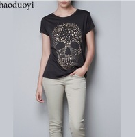 Free ship women/lady  Diamond Star Print ordered skull women's short-sleeve 100% cotton t-shirt t shirt