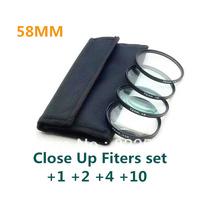 4 pcs 58mm 58 mm Close up Macro +1 +2 +4 +10 SLR Lens Filter Kit Set For Nikon Canon Camera free shipping+tracking