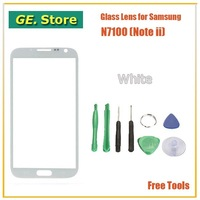 Freeshipping White Color Digitizer Touch Outer Glass Lens Screen For Samsung Galaxy Note 2 II N7100 Replacement+Tools+Adhesive