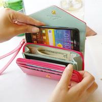 Pu japanned leather female long design wallet small wallet lather-bag clutch card holder zipper bag mobile phone bag