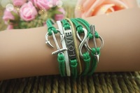 Vintage Silver Anchor sword love green threads Retro vintage Wax Rope cord charm Bracelet Fashion Jewelry   [JCZL DIY Shop]