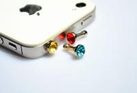 diamond Earphone Headphone  Dust plug dust Cap for iphone 4 4s for 3.5mm plug mobile phone free shipping