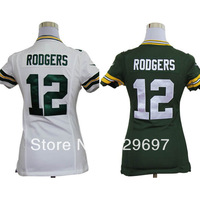 Free Shipping #12 Aaron Rodgers  Green/ White Women's American Football Jersey,Embroidery Logos,Size S--XXL,Accept Mix Order