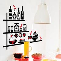 DIY kitchen cabinets Stylish restaurant fridge stickers removable wall stickers decorative background
