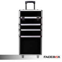 Facebox professional cosmetic trolley luggage disassembly Large multi-layer black cosmetics trolley