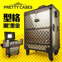 Professional Large trolley cosmetic box split multi-layer belt mirror