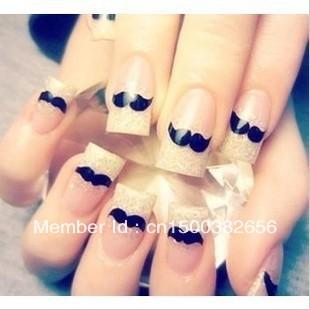 Free shpping!20PCS/LOT Fashion !DIY Pretty Nail Art Stick Patch Beard Moustache Tattoo Fingernail Desgin & Decoration N02 XF438(China (Mainland))
