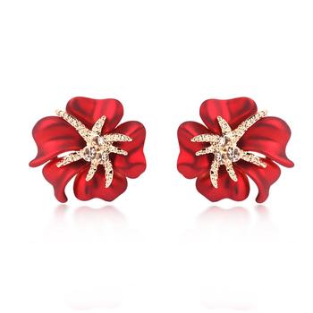 Free Shipping Fashion flower stud earring no pierced earrings fashion accessories  Min Order $20
