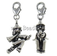Free shipping!!!Zinc Alloy Lobster Clasp Charm,Guaranteed 100%, Boy, antique silver color plated, nickel, lead & cadmium free