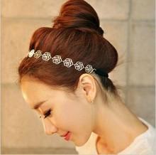 Min. Ordem é $ 10 (pode misturar a ordem)! Coreia do Ouro Rose Flor Elasticidade Hairbands / Hair Wear / Cabeça Banda For Women HR001(China (Mainland))