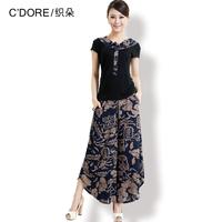 Fluid short-sleeve print short-sleeve mother clothing summer clothing 2013 elderly women's plus size set
