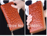 2013 free shipping ladies printing flower pattern purse high quality oil wax genuine leather one zipper long section wallet