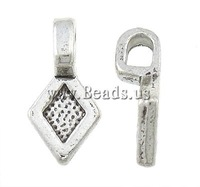 Free shipping!!!Zinc Alloy Glue on Bail,Elegant, Rhombus, antique silver color plated, nickel, lead & cadmium free, 8x16x2mm