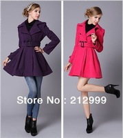 Женская одежда из шерсти 2012 woolen outerwear female plus size slim woolen medium-long trophonema wool coat female