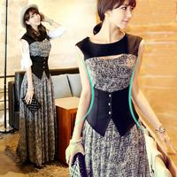 free shipping,2014 summer bohemia slim elegant full dress ,sleeveless faux two piece one-piece dress