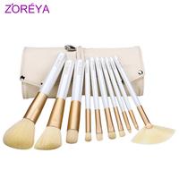 Zoreya 10pcs brush set loose powder brush blush brush make-up cosmetic tools cosmetic brush set yellow color Free Shipping