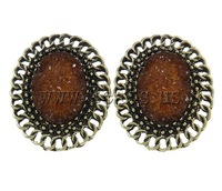 Free shipping!!!Zinc Alloy Stud Earring,Wedding, with Resin, brass post, Flat Oval, antique bronze color plated, nickel