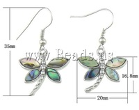 Free shipping!!!Abalone Shell Drop Earring,2013 new, Dragonfly, approx 16.8x20x3mm, 35mm, Length:Approx 1.3 Inch, 10Pairs/Lot
