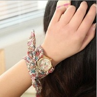 Hot! Special Promotion New Fashion Style Fabric Pattern Hawaiian Woman Watch Free Shipping