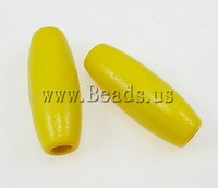 Free shipping!!!Wood Beads,Fashion Jewelry in Bulk, Oval, yellow, 8x23mm, Hole:Approx 3.5mm, 1250PCs/Bag, Sold By Bag