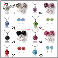 B13222,DHL Free,300sets/lot,Wholesale 925 Silver Jewelry Sets Shamballa Silver Necklace and Stud Earrings