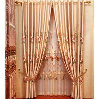 Modern chinese style classical peones embroidered curtain shalian quality curtain fabric finished product fabric