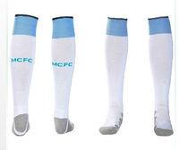 A+++ 2014 New England MANCHESTER CITY Toure Dzeko Aguero Soccer Socks Football Socks Kits Thailand Quality Thick Bottom