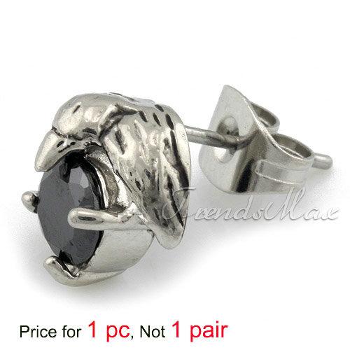 Stainless Steel Bird Black CZ MENS Stud Earrings KE77(China (Mainland))