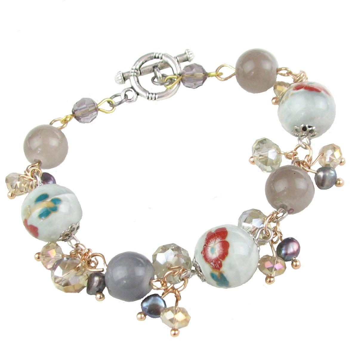 2013 Enamel glaze pearl agate bracelet female fashion vintage girlfriend birthday present gifts(China (Mainland))