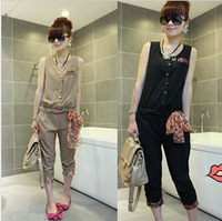 Women's coverall summer loose plus size 2013 broken laciness clothing capris tube top jumpsuit