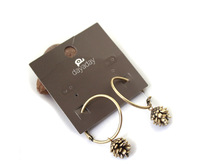 Free Shipping on US$15 Order, Vintage Jewelry Bronze Pinecone Earring