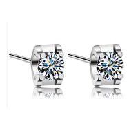6mm*4mm Classic Mini 925 Silver Earrings Small Square Four Claws Zircon Ear Stud Wedding Earrings Free Shipping SK045