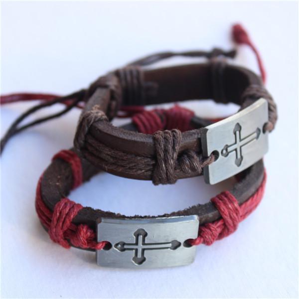 Free Shipping Handmade Fashion Hot Design CROSS Couple LOVE Bracelet