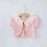 Summer 100% cotton lace jacquard female child short-sleeve cape clothing baby cloak waistcoat all-match sunscreen cardigan