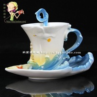 LOVE Porcelain enamel colorful coffee cup high quality ceramic milk cup embossed gift