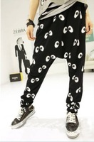 Ladies Flat Mid Elastic Waist Big Eyes Print Casual Loose Harem Pants Free Shipping A601B-9804