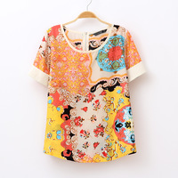 Free Shipping 2013 summer women's national trend vintage fancy o-neck loose chiffon shirt short-sleeve top