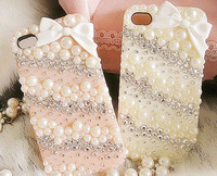 Bling Pearl bowknot Case Cover For iphone 4 4s crystal Rhinestone screen protector & Free Shipping