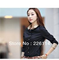 Korea Women's Long Sleeve OL Blouse/ Shirts/ Tops Black,Navy Blue and Gray S,M,L,XL free shipping