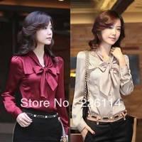 NEW Korea Women's bowtie OL shirt puff Long Sleeve Vintage Shirts Tops chiffon blouse 2 Colours New free shipping