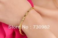 9k 14k 18k yellow glod  bracelet  fashion jewelry golden snake supperchain  birthday gift   beautiful hand wearing free shipping