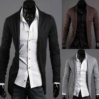 hot sale free shipping Autumn fashion men's slim cardigan long-sleeve sweater / black grey coffee vine red  M L XL