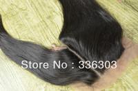 Free shipping! Left Side Silk Base Lace Closure! SIDE PART silky straight virgin PERUVIAN hair silk base top closure #1b