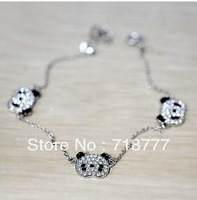 Min.Order Is $15 (Mix Order)Fashion Korean Jewelry Cute Lovely Delicate Rhinestone Panda Bracelet Free Shipping! BR3021