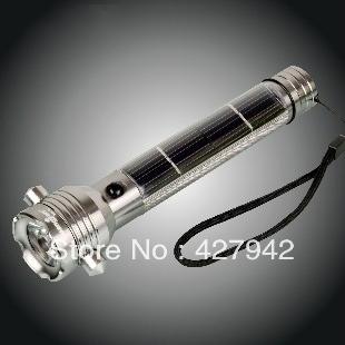 LED flashlight shock Solar power 7beads led torch rechargeable solar panel household outdoor camping hard light mini pocket lamp