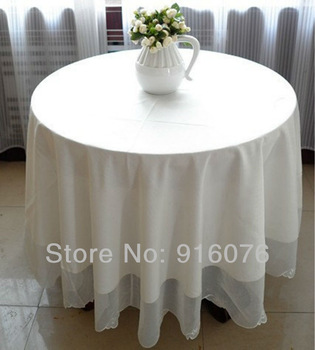 "84"" inches/215 cm ROUND white tablecloth wholesale for wedding decoration Free shipping!!!"