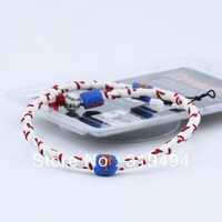New York Mets Classic Frozen Rope Genuine Baseball Leather Germanium Titanium braided Necklace