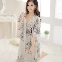 Summer sleepwear female faux silk spaghetti strap silk nightgown twinset lounge set sexy bodysuit